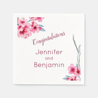 Floral Watercolor Pink Customized Napkins