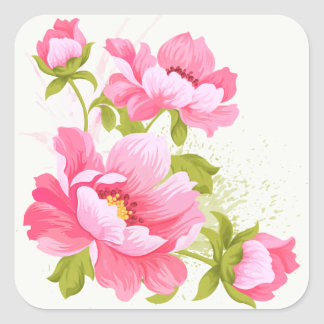 Floral Watercolor Pink Peonies Flower Wedding Square Sticker