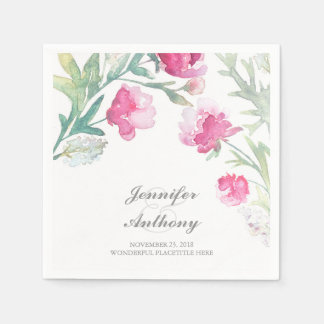 Floral Watercolor Pink Peony Bouquet Wedding Paper Napkins