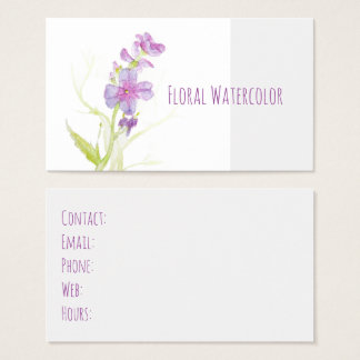 Floral Watercolor Purple Wildflowers Blooms Business Card