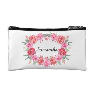 Floral watercolor rose wreath name cosmetic bags