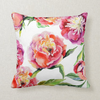 Floral watercolor scarlet red blush pink peonies throw pillow