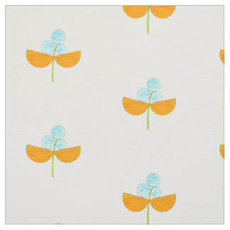 Floral watercolor sky blue and orange pattern fabric