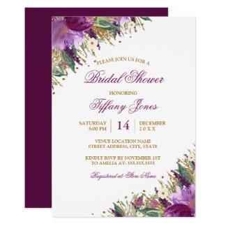 Floral Watercolor Sparkling Amethyst Bridal Shower Card