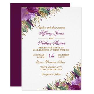Floral Watercolor Sparkling Amethyst Wedding Card