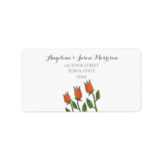 Floral Watercolor Spring Tulips White Pure Elegant Label