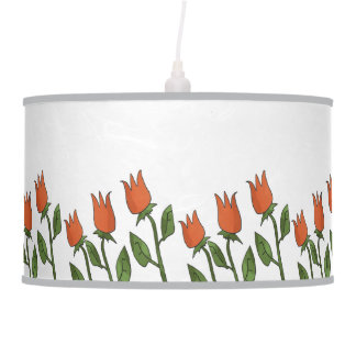 Floral Watercolor Spring Tulips White Pure Elegant Pendant Lamp