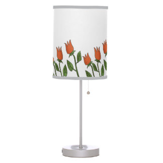 Floral Watercolor Spring Tulips White Pure Elegant Table Lamp