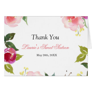 Floral Watercolor Sweet Sixteen Thank you card
