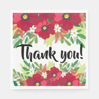 Floral Watercolor Thank You Red Burgundy Flowers Paper Napkin