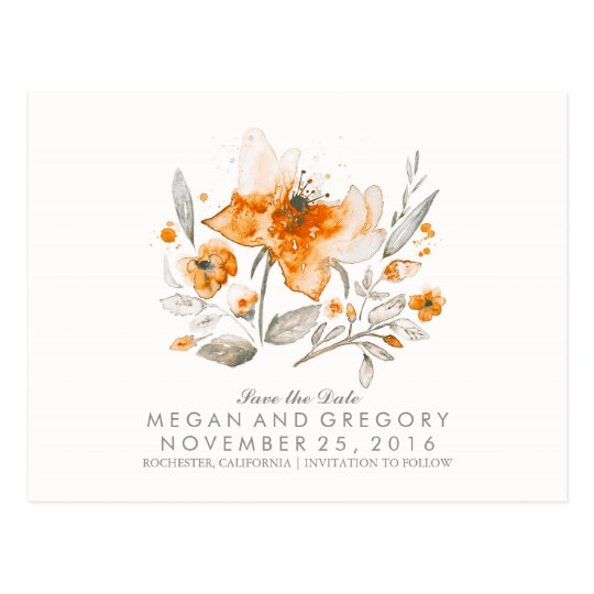floral watercolor vintage fall save the date postcard