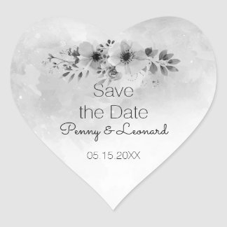 Floral Watercolor Wedding Gray Save the Date Heart Sticker