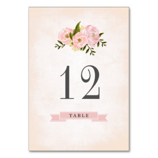 Floral Watercolor Wedding Table Number Cards