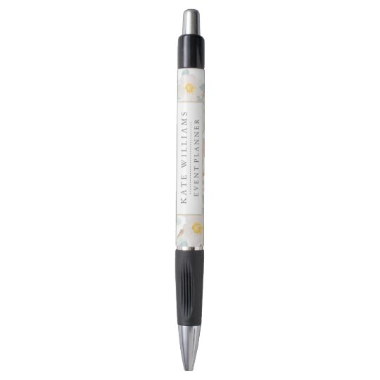 Floral Watercolor With Custom Name and Business Pen
