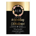 Floral Watercolor Wreath Gold & Black Wedding Magnetic Card