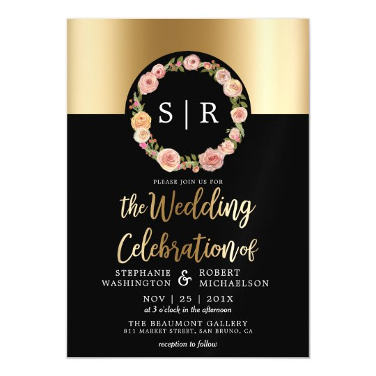 Floral Watercolor Wreath Gold & Black Wedding Magnetic Invitations