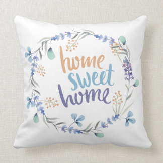 Floral Watercolor Wreath Home Sweet Home Blue Throw Pillow