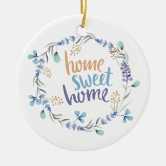 Floral Watercolor Wreath Home Sweet Home Ceramic Ornament