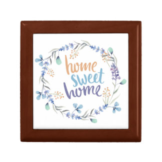Floral Watercolor Wreath Home Sweet Home Jewelry Box