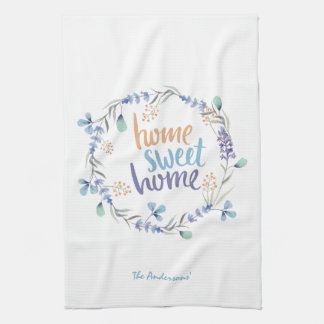 Floral Watercolor Wreath Home Sweet Home Kitchen Towel