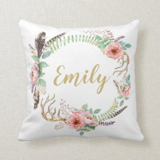Floral Watercolor Wreath Personalized Cushion