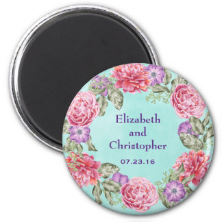 Floral Watercolor Wreath Pretty Wedding 2 Inch Round Magnet