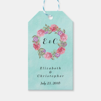 Floral Watercolor Wreath Stylish Wedding Pack Of Gift Tags