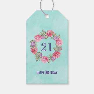 Floral Watercolor Wreath w/ Happy Birthday and Age Pack Of Gift Tags