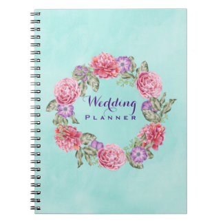 Floral Watercolor Wreath Wedding Planner Notebooks