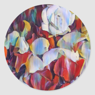 Floral watercolour arrangement classic round sticker