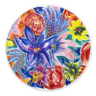Floral Watercolour Ceramic Dresser Knob