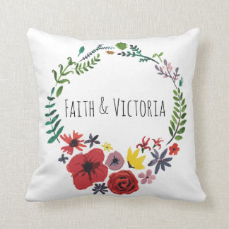 Floral Watercolour Cushion Customisable