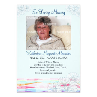 Floral Waves Blue Memorial Notice Card
