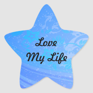 Floral Waves Of Blue Set Star Sticker
