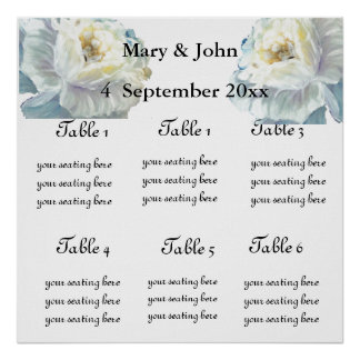 "Floral Wedding ""Blue roses"" seating chart Posters"