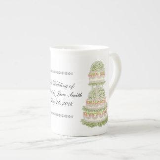 Floral Wedding Cake Customizable Bone China Mug