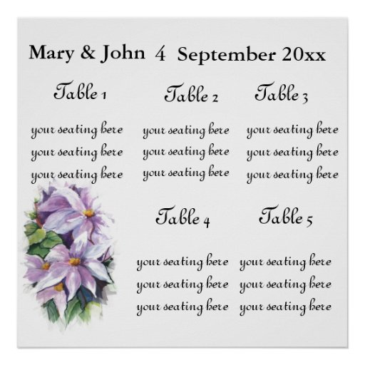 """Floral Wedding """"Clementis"""" seating chart. Poster"""