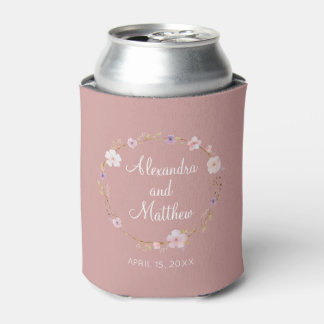 Floral Wedding Crown Can Cooler