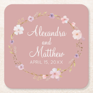 Floral Wedding Crown Square Paper Coaster