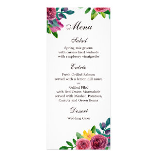 Floral wedding dinner menu. Flowers menu party