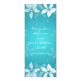 Floral Wedding Exotic Blooms Blue Card