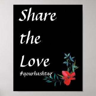 Floral Wedding Hashtag Sign