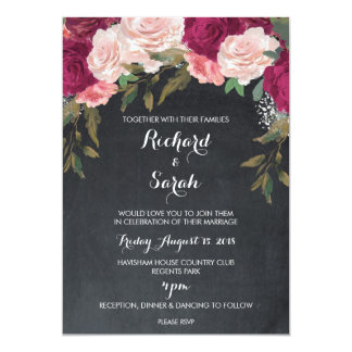 Floral wedding invitation burgundy chalkboard