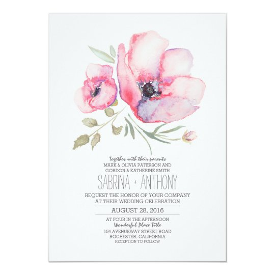 Floral Wedding Invitation - Watercolor Flowers