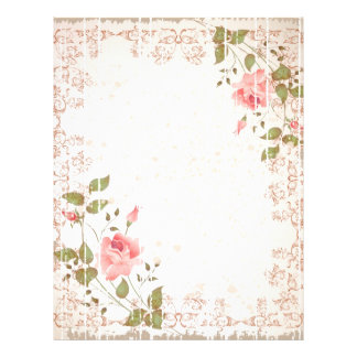 Floral Wedding Letterhead, Rose paper, Weddings Letterhead