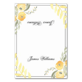 Floral Wedding Place Cards Yellow