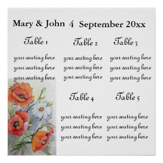 """Floral Wedding """" Poppies  bouquet"""" seating chart. Posters"""
