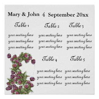 "Floral Wedding ""Roses"" seating chart. Print"