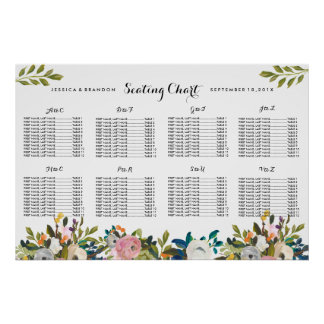 Floral Wedding Seating Chart Poster Alphabetical