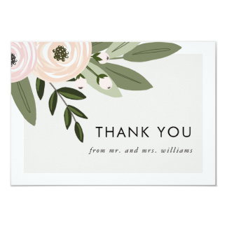 Floral Wedding Sprigs - flat thank you cards